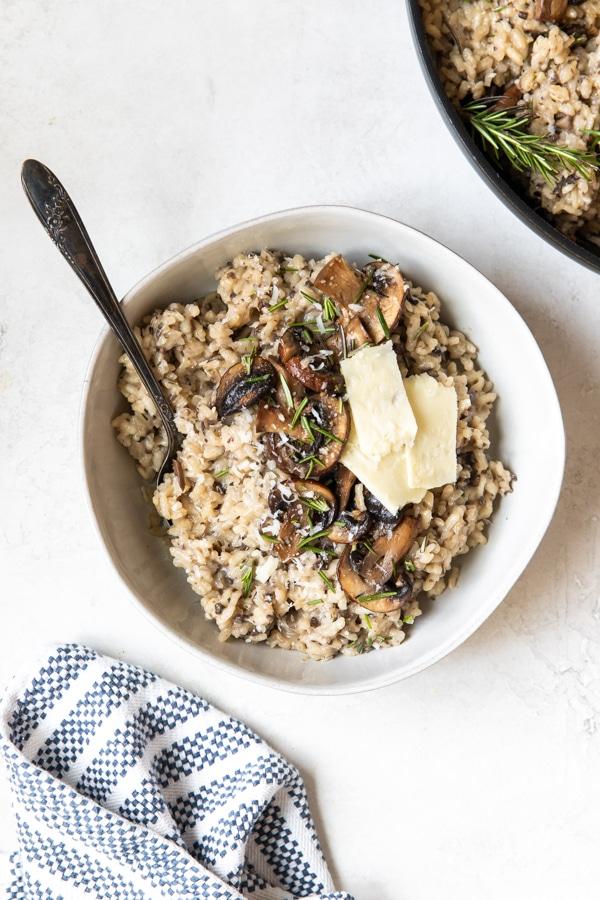 risotto in a white bowl