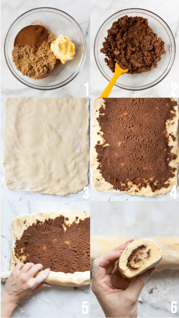 step by step photos of cinnamon roll cookies