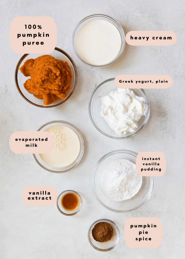 ingredients needed to make pumpkin mousse in small glass bowls