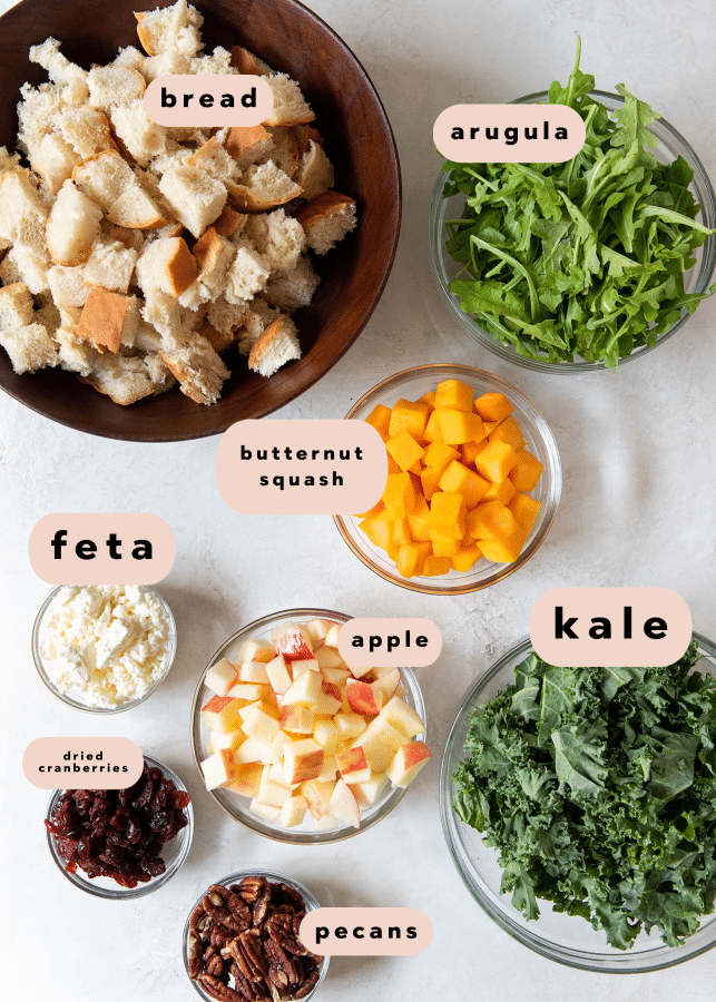 ingredients needed to make fall panzanella salad