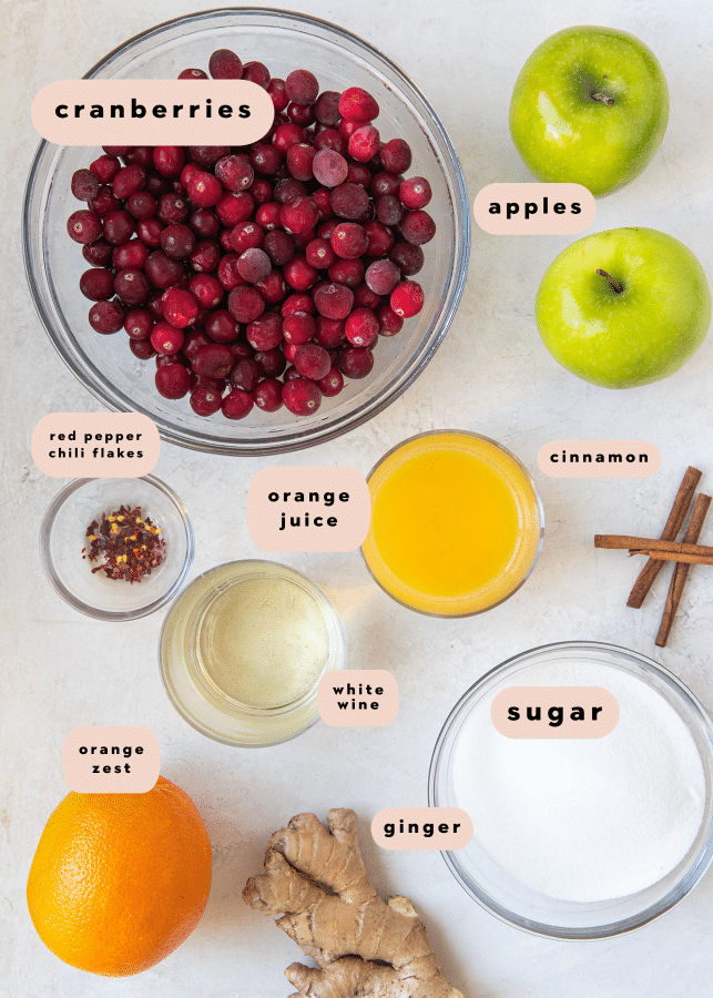 ingredients needed to make cranberry sauce