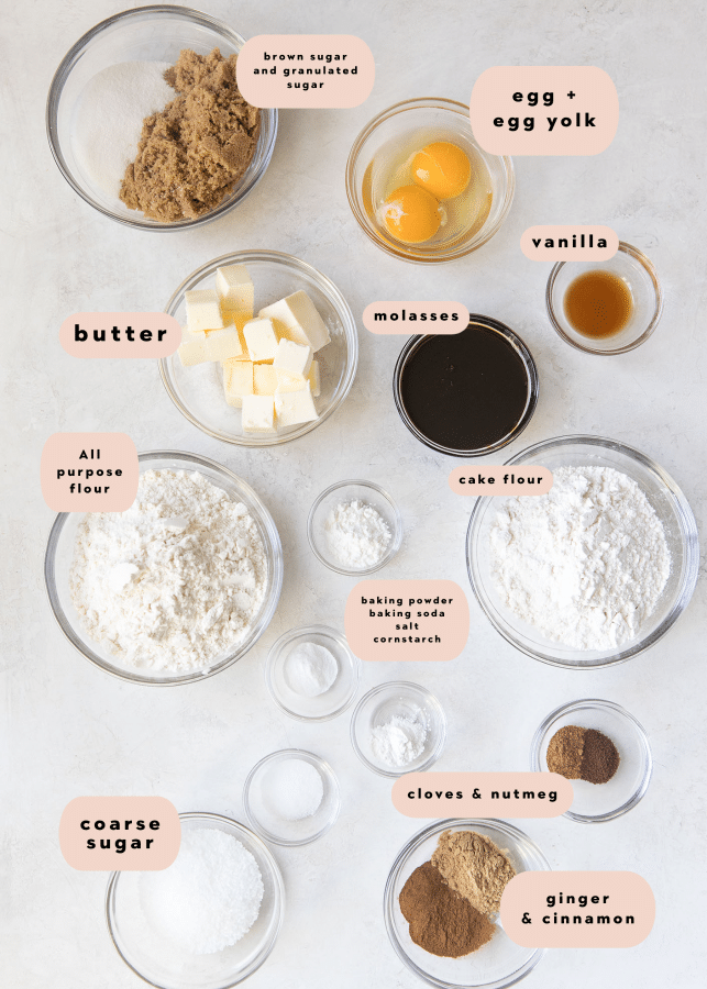 ingredients needed to make gingerbread molasses cookies