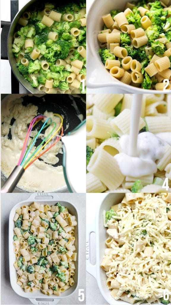 step by step photos of how to make chicken Alfredo pasta bake