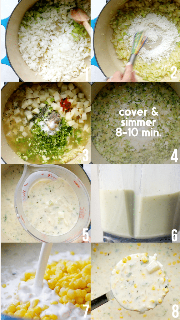 step by step photos of how to make creamy corn chowder