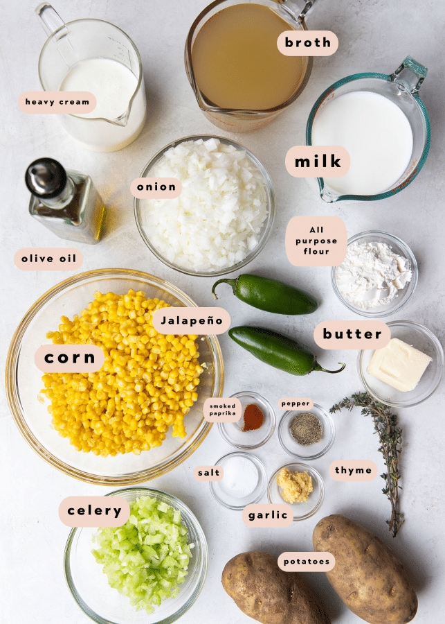 ingredients needed to make corn chowder in small glass bowls