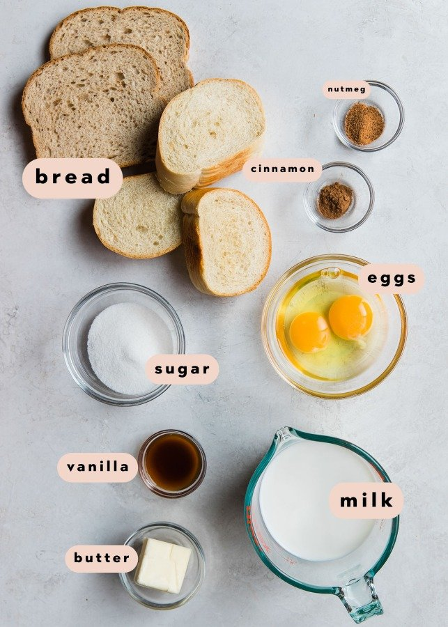 ingredients needed to make french toast in small glass bowls