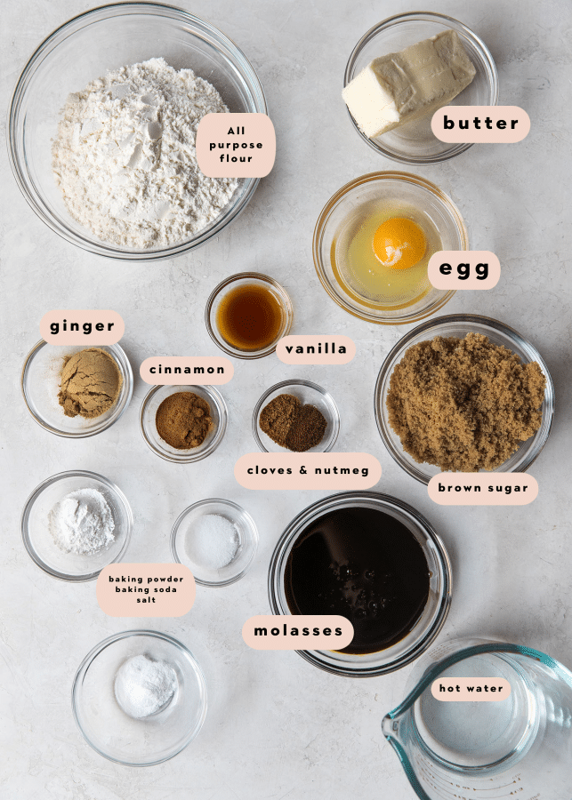 ingredients needed to make a gingerbread loaf