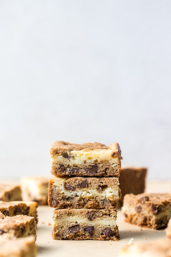 cookie dough bars stacked on top of each other