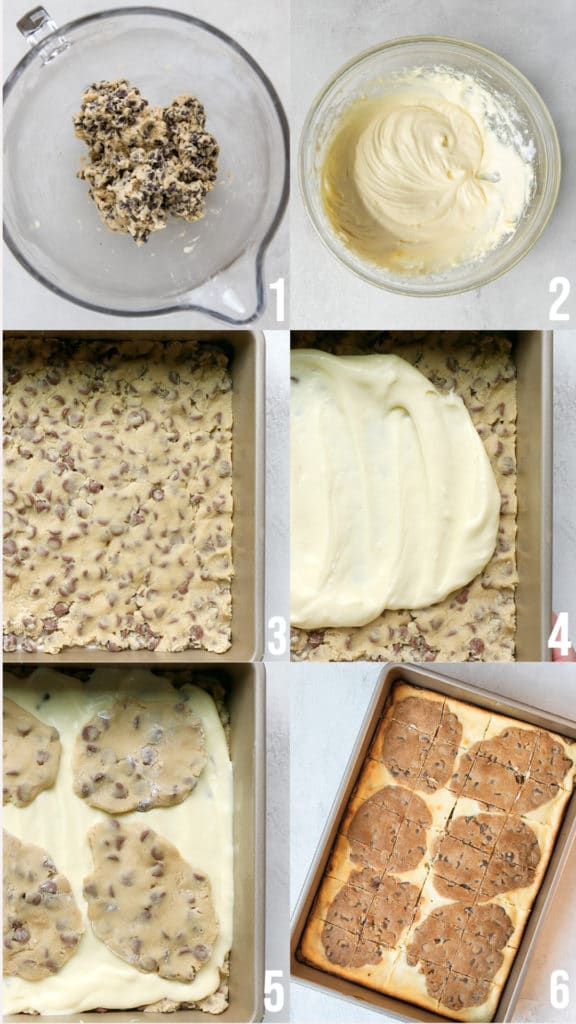 step by step photos making cookie cheesecake bars