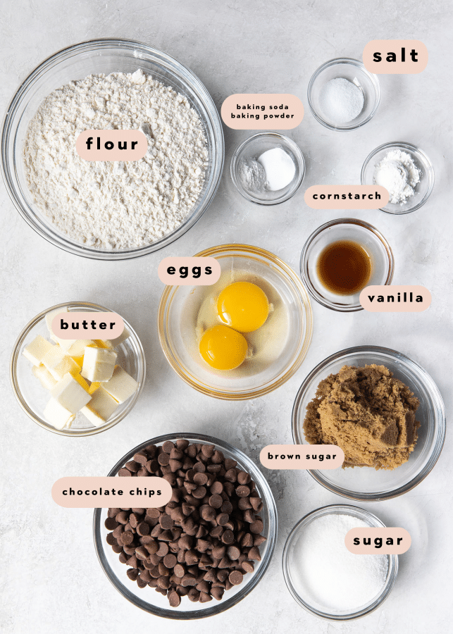 ingredients in small glass bowls needed for cookie dough