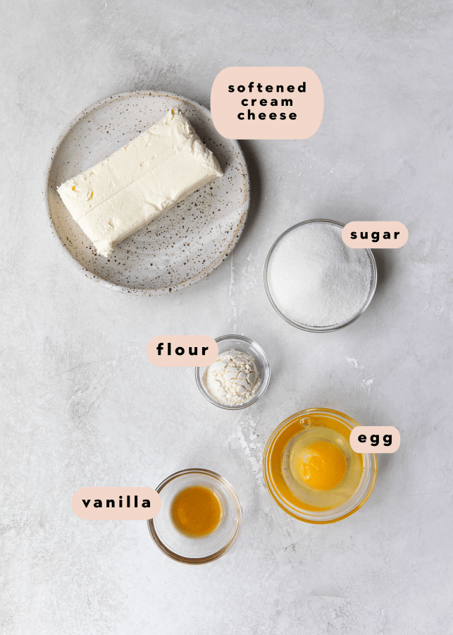 ingredients needed for the cream cheese filling for cookie dough bars