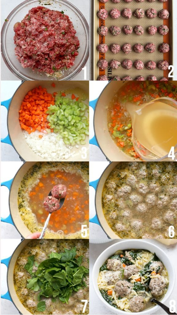 step by step photos of making Italian wedding soup