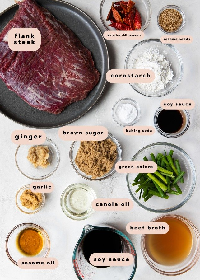 ingredients needed to make mongolian beef in small glass bowls