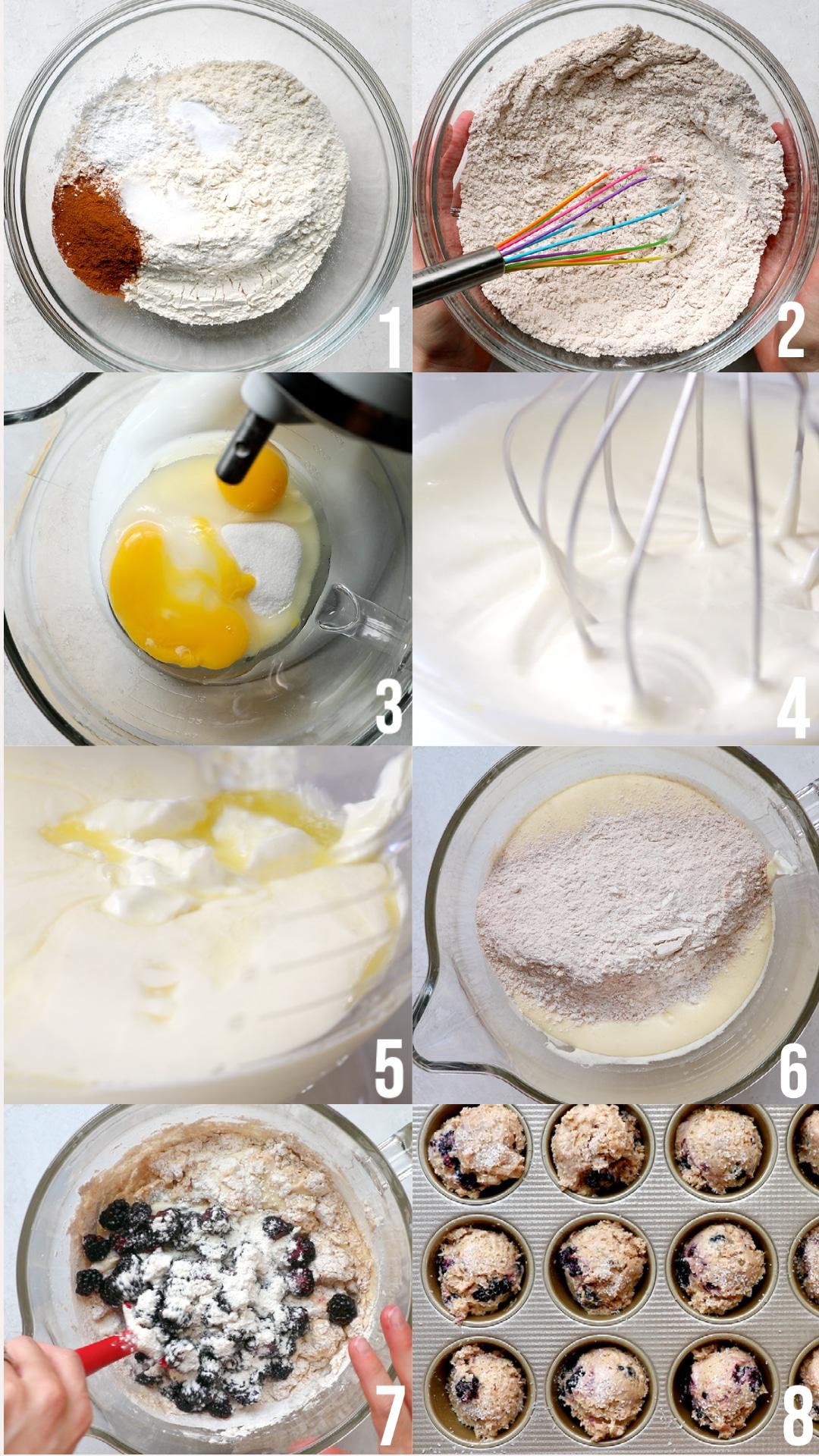 photos making blackberry muffins