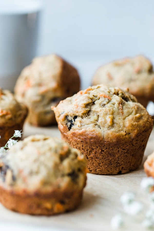 banana muffin on parchment paper