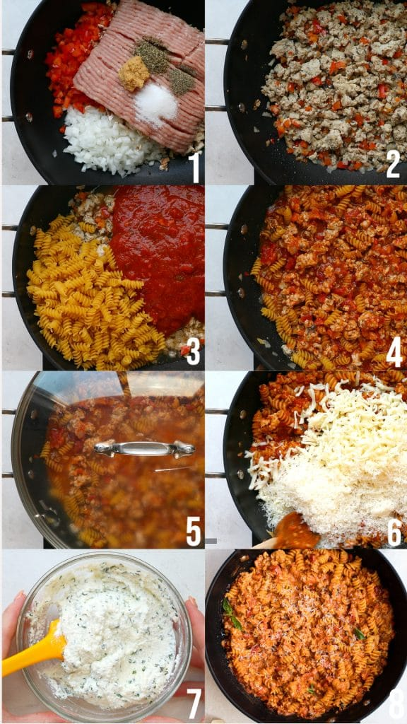 photos showing steps making rotini skillet lasagna