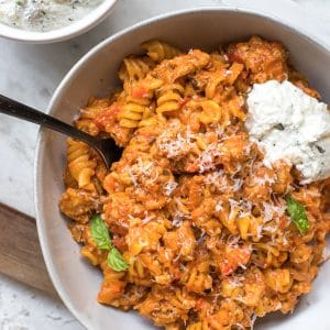 rotini pasta in a white bowl