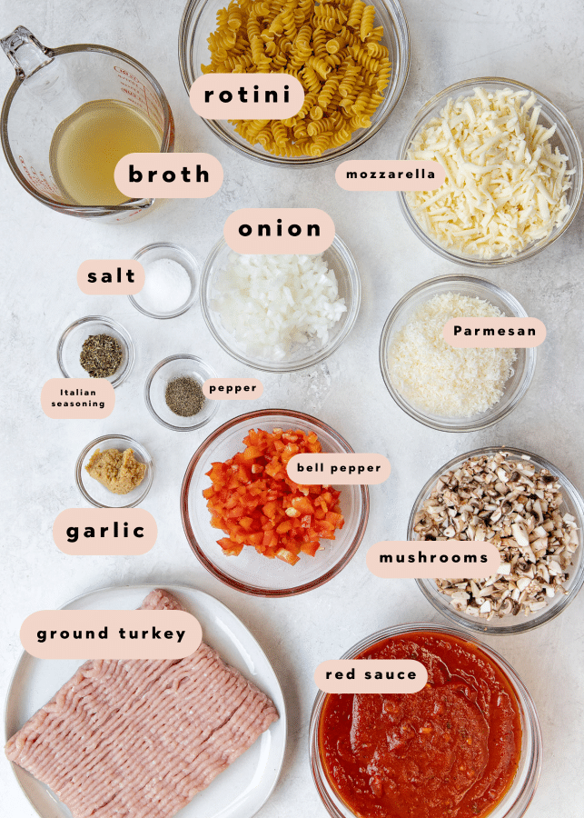 ingredients to make skillet lasagna pasta recipe in small glass bowls