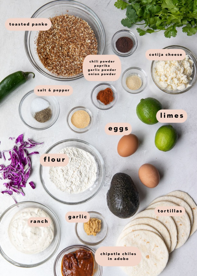 ingredients needed to make panko crusted mahi tacos