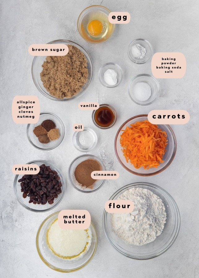 ingredients needed to make carrot cake bars