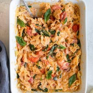 pasta in a white casserole dish