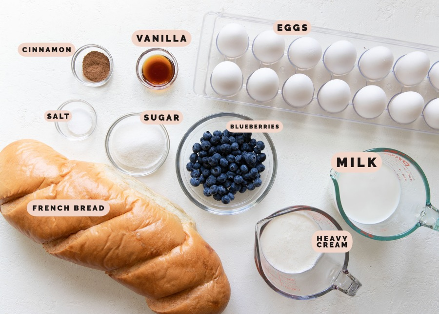 ingredients needed to make blueberry french toast muffins