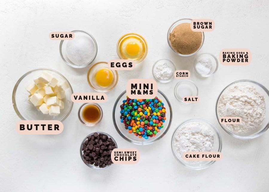 ingredients needed to make m&m cookies