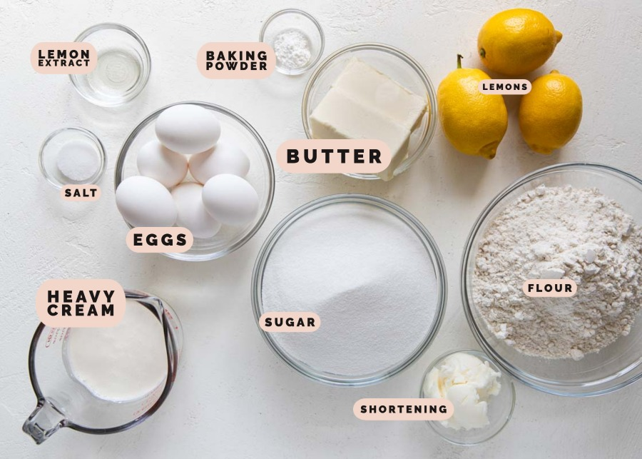 baking ingredients in glass bowls