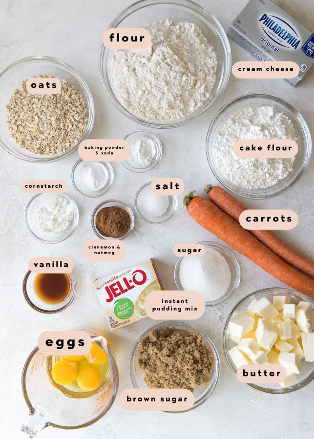 ingredients needed to make a carrot cake cookie recipe