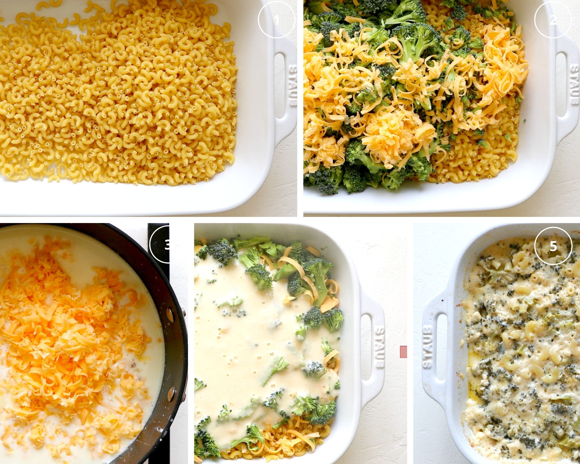 step by step photos of making mac and cheese in a casserole dish