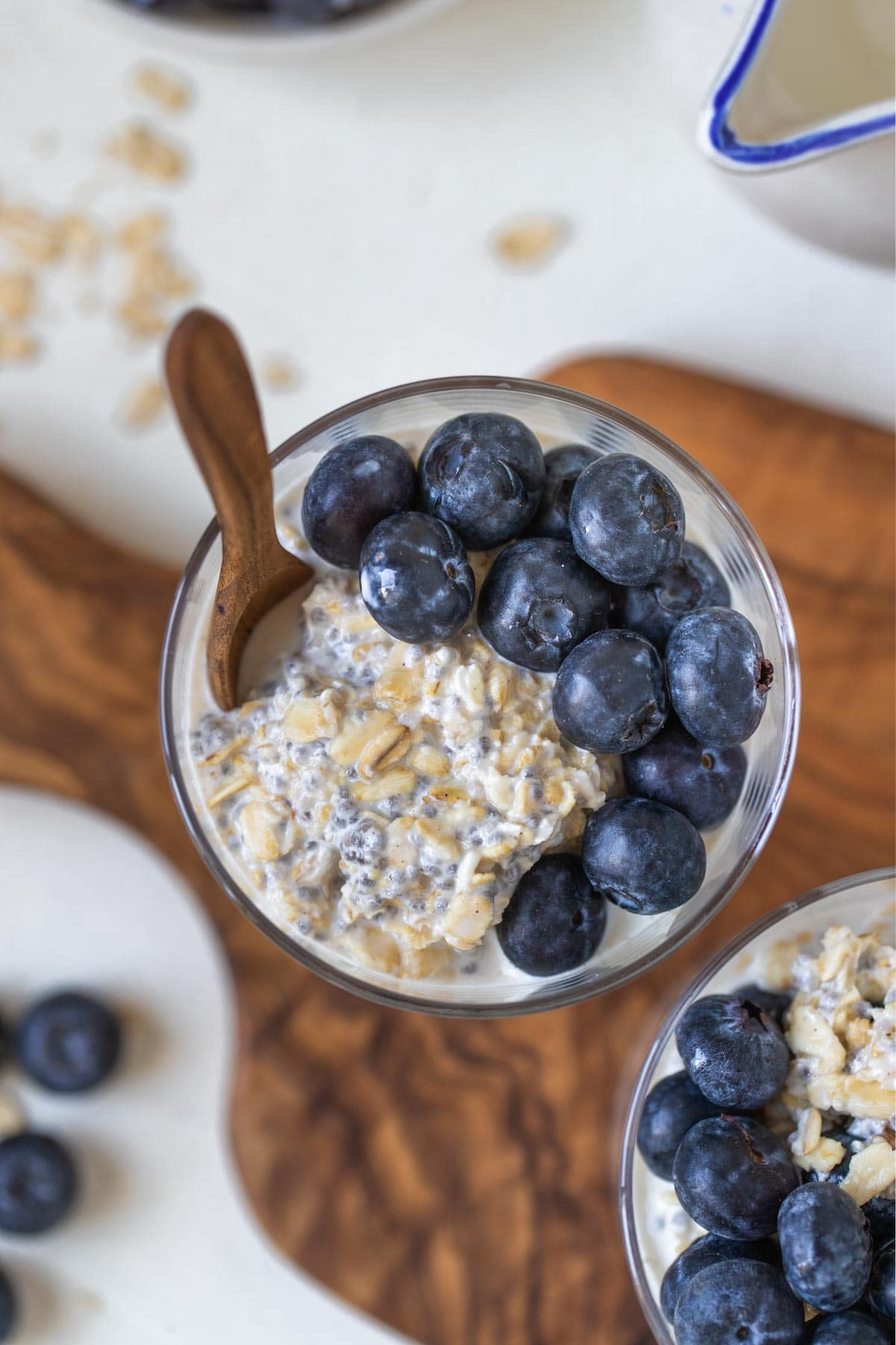 overnight oats with blueberries mixed in