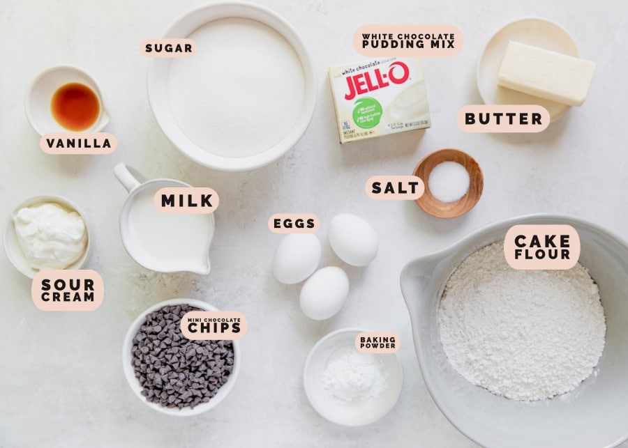 ingredients needed to make a chocolate chip bundt cake