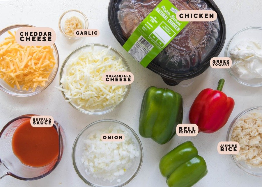 ingredients needed to make chicken stuffed bell peppers