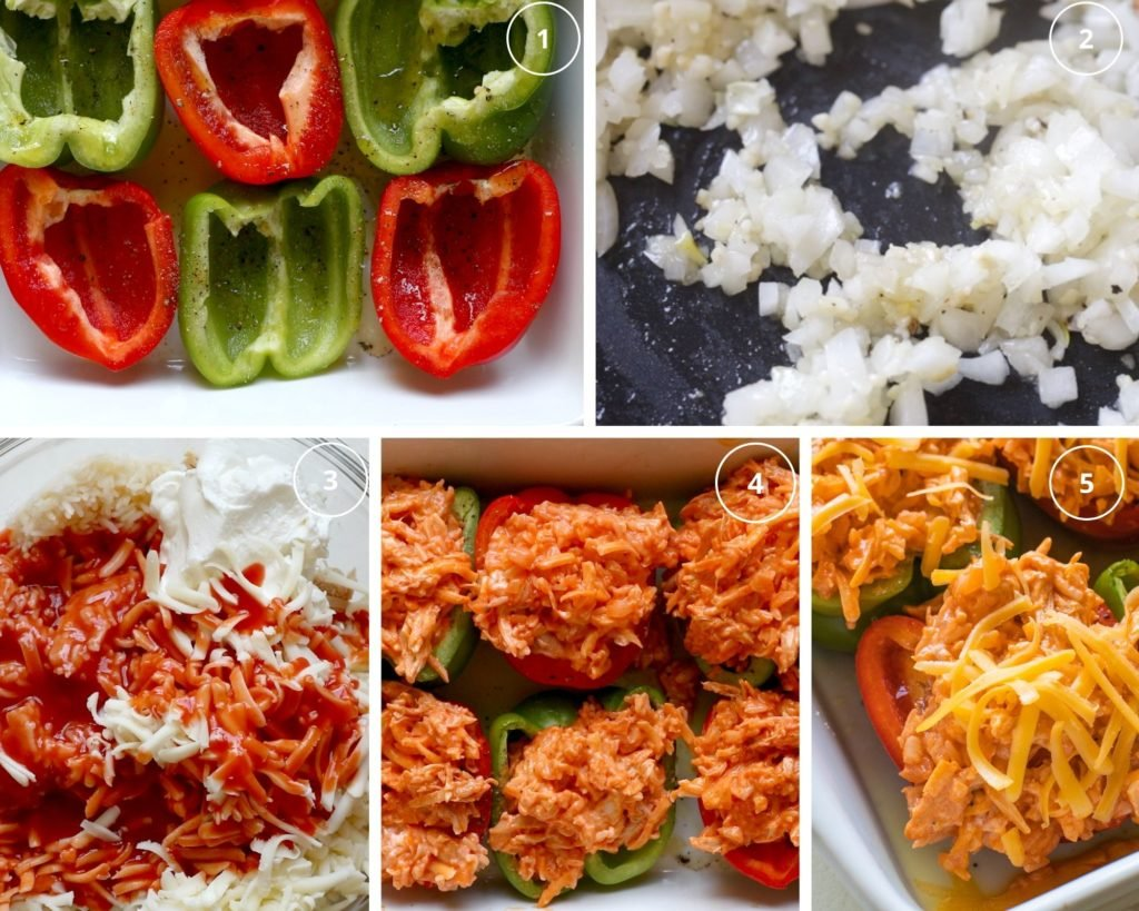 step by step photos making stuffed bell peppers