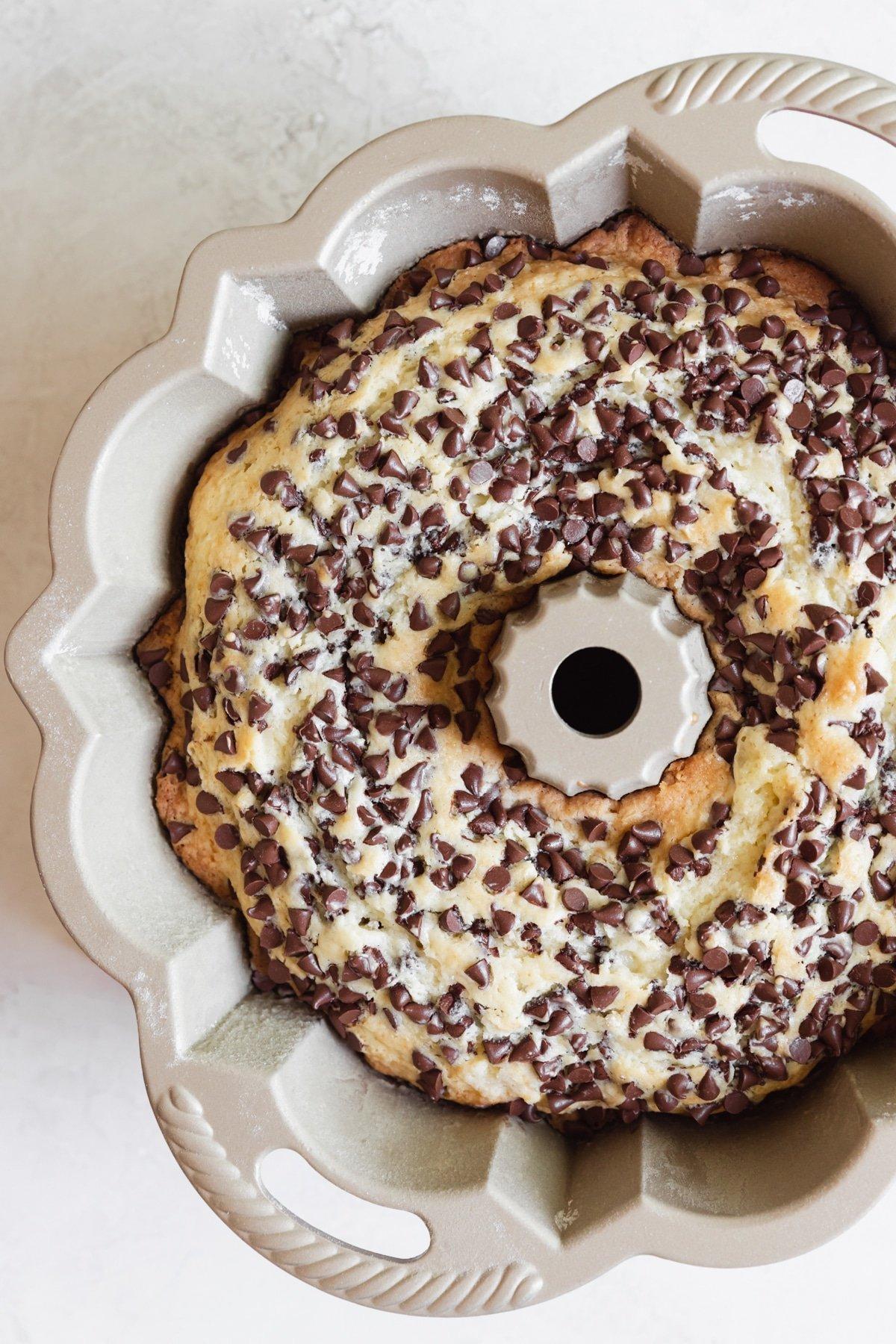 chocolate chip bundt cake in a bundt pan