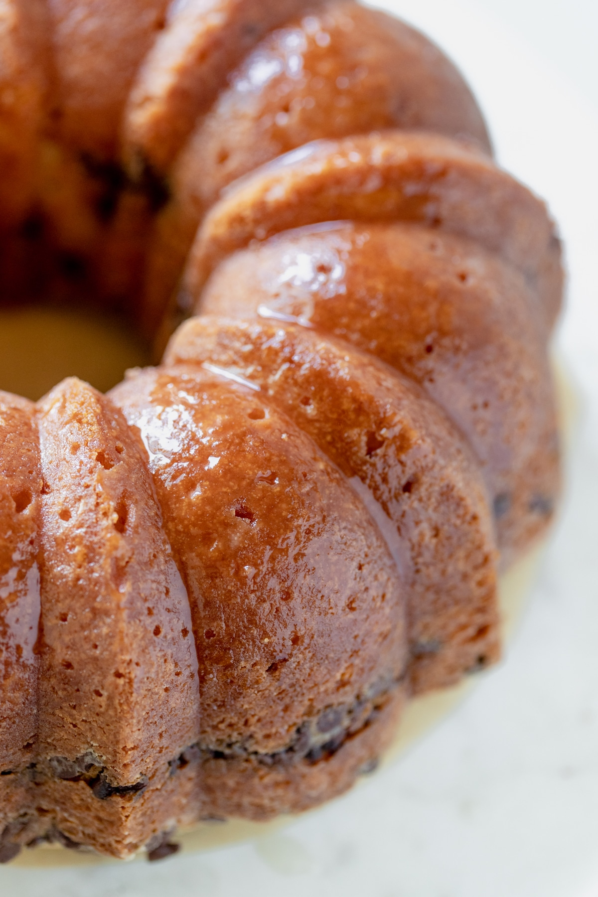 bundt cake with simple syrup on top