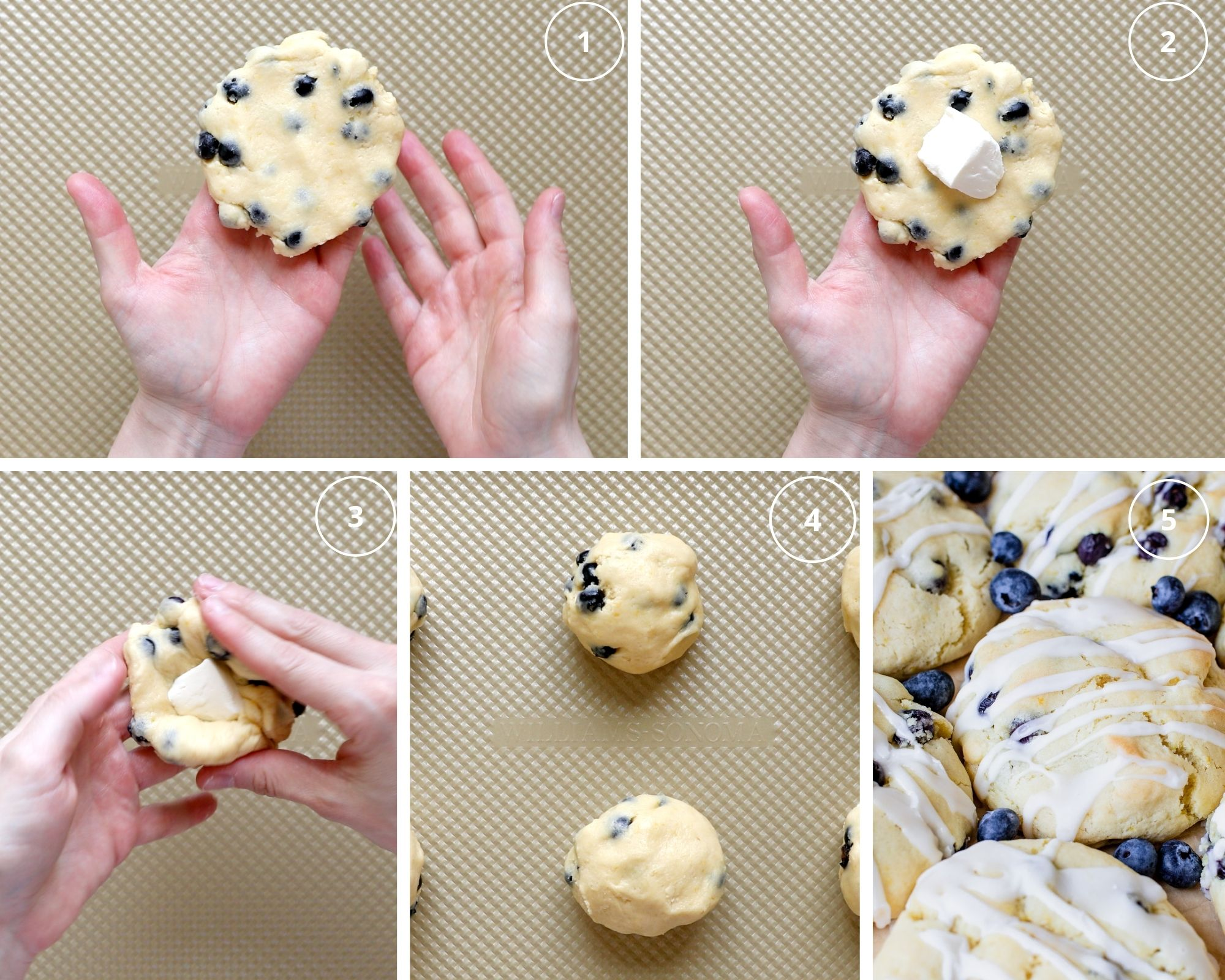 how to put cream cheese in the center of cookies