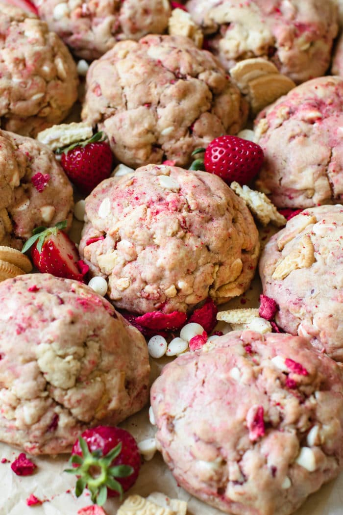 strawberry cookies on parchment paper