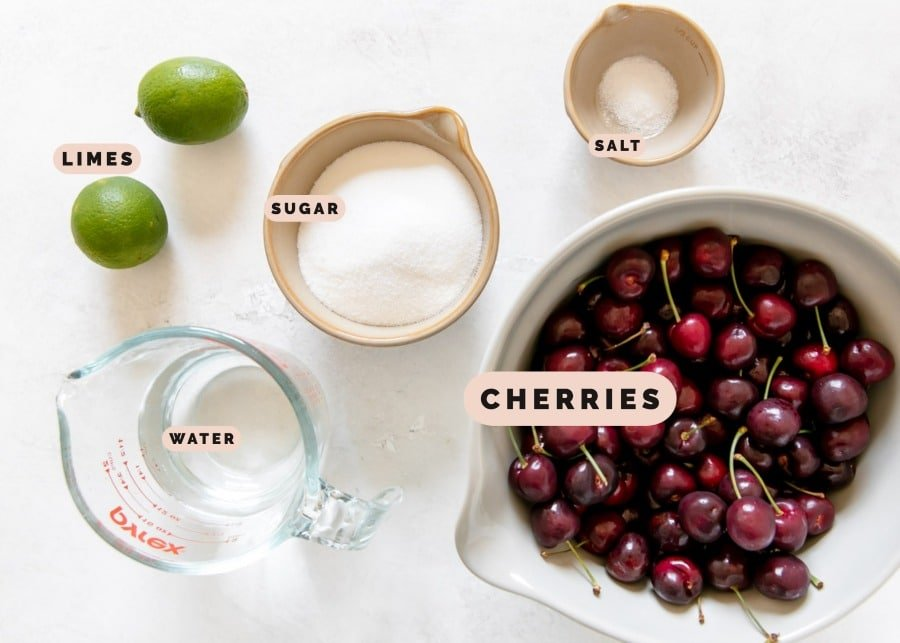 ingredients needed to make cherry sorbet