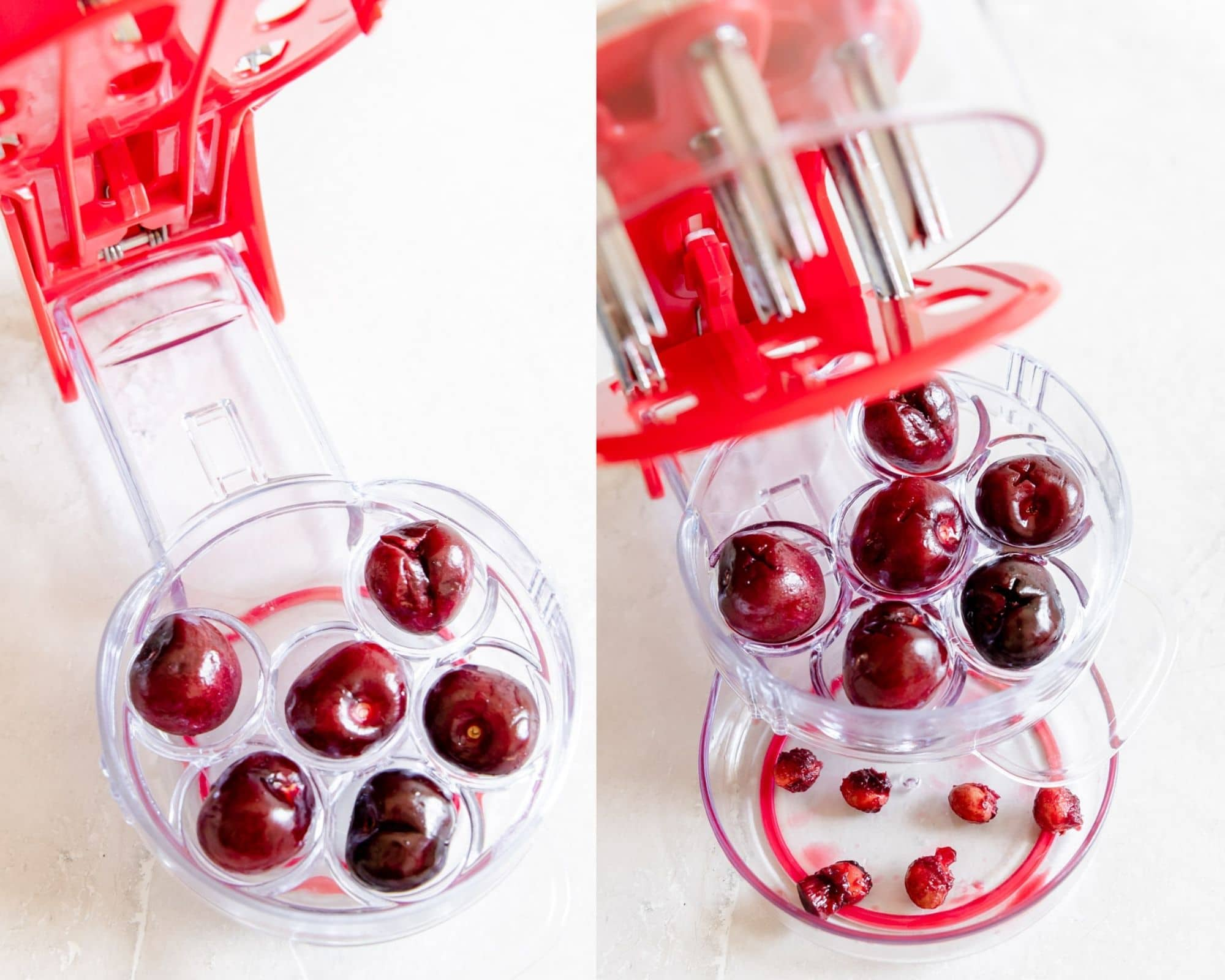 cherry pitter pitting 6 cherries at once