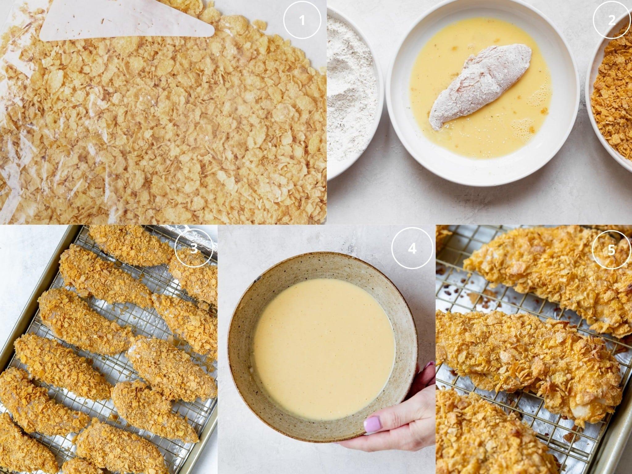 step by step photos of preparing cornflake chicken tenders