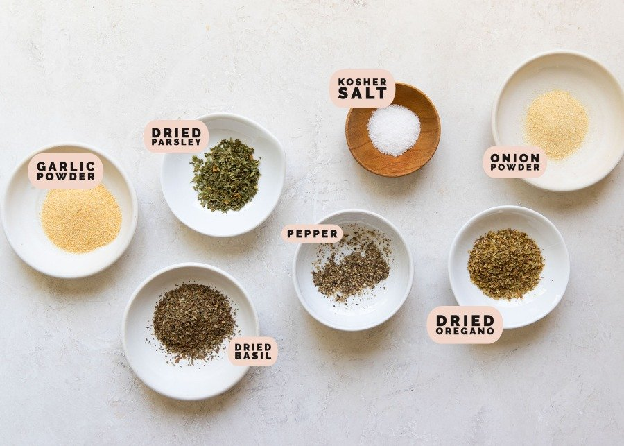 seasonings in small white dishes for salmon