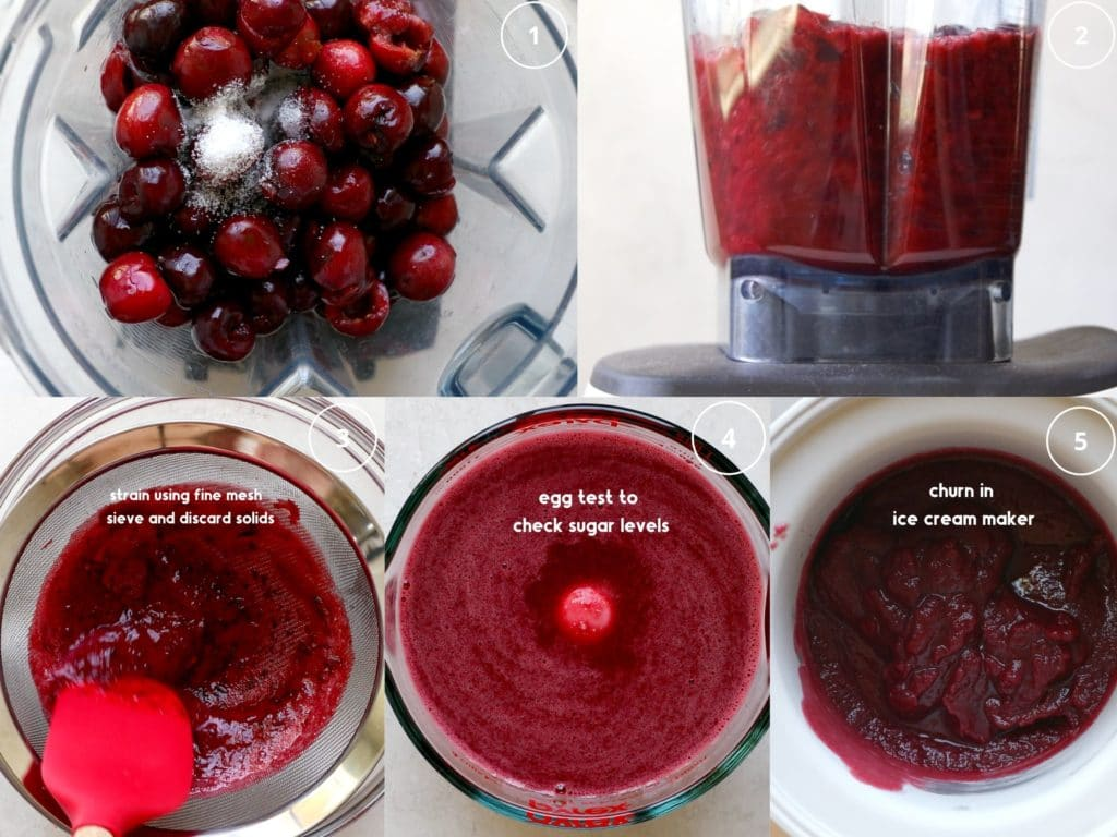 step by step photos making cherry sorbet