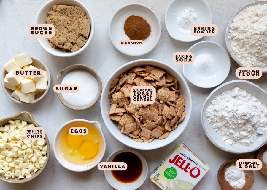 ingredients needed to make cookies in small dishes