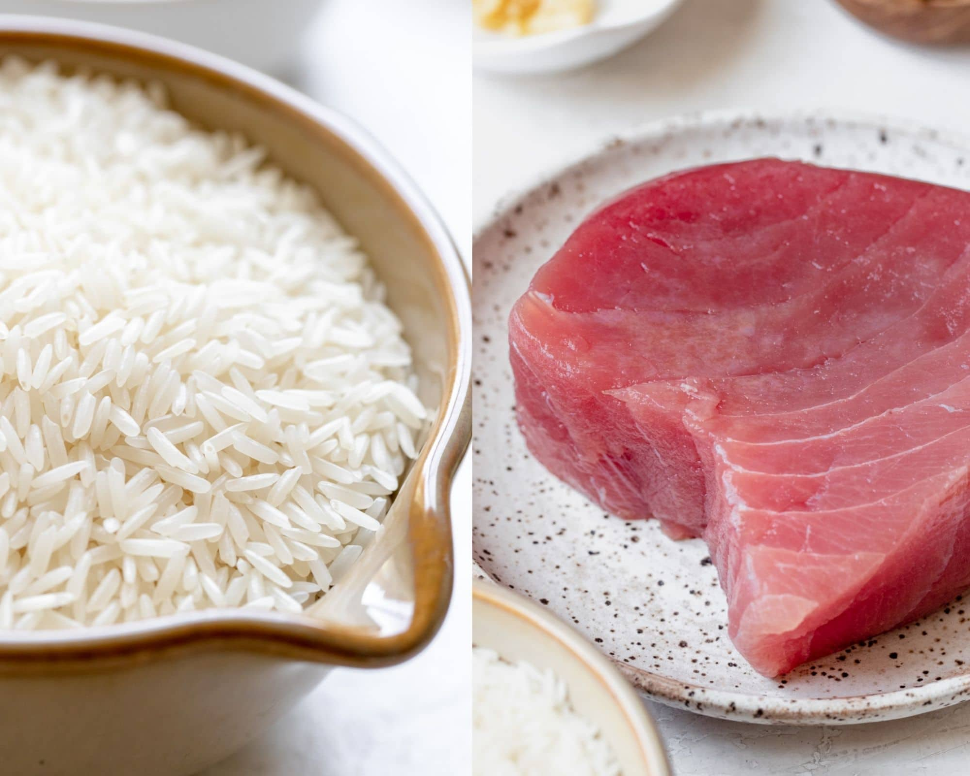 ahi on a plate and rice in a brown bowl