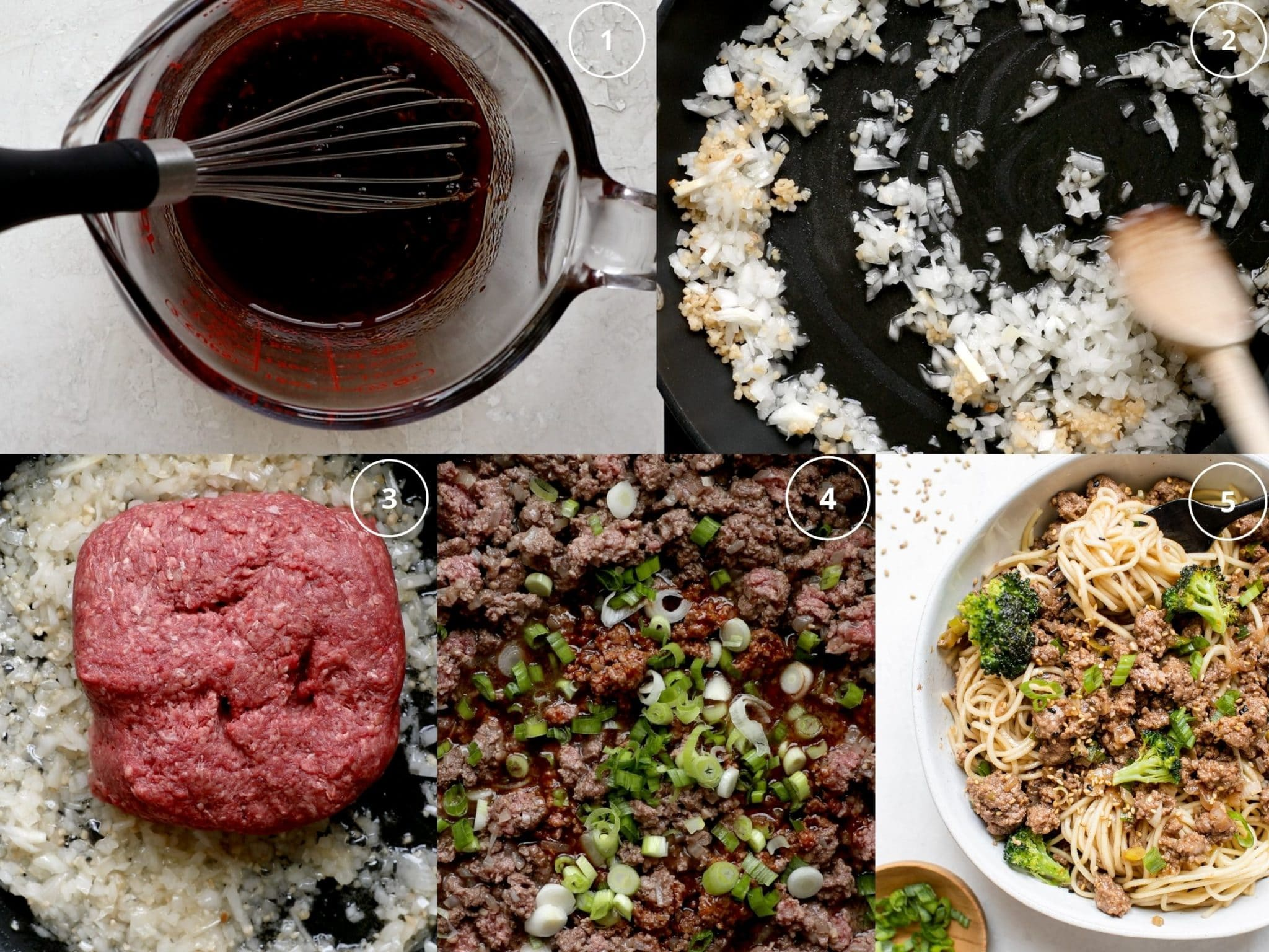 step by step photos making beef with egg noodles in a skillet