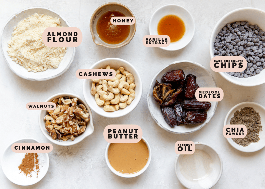 ingredients in small dishes needed to make protein bars