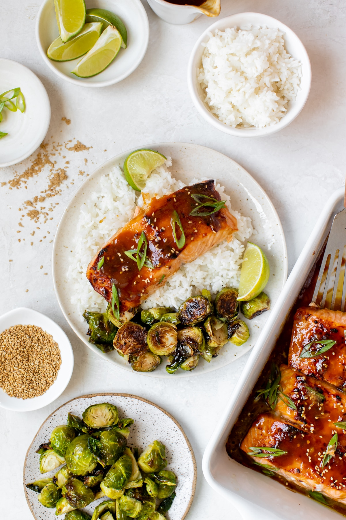salmon on a white specked plate with roasted brussels and white rice