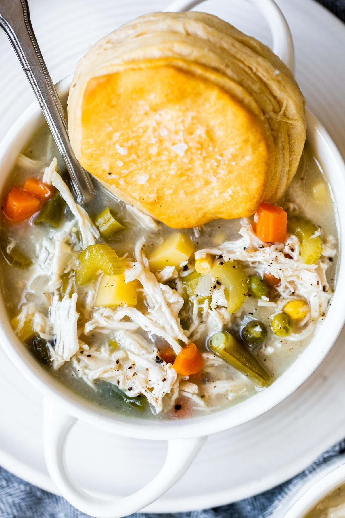 pot pie soup in a white bowl