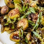 roasted brussels sprouts on a white plate